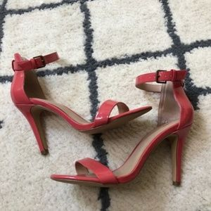 Mix No. 6 coral colored 3 inch buckle heels